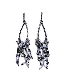Exaggerated Black+white Beads Weaving Tassel Pendant Decorated Simple Earring