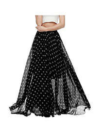 Bohemia Black Color Matching Decorated Dot Pattern Beach Skirts
