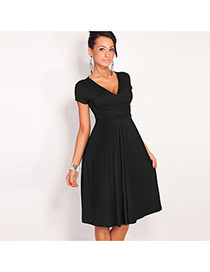 Sexy Black Pure Color Decorated Short Sleeve Deep V Fold Dress