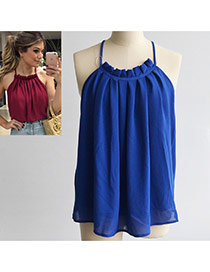 Sweet Sapphire Blue Pure Color Decorated Off-the-shouler Sleeveless Loose Tops