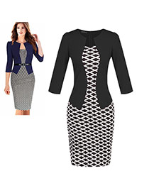 Fashion Black Grid Decorated Three Quarter Sleeve False Two-piece Dress(with girdle)