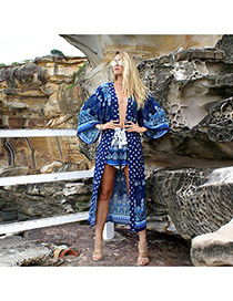 Bohemia Sapphire Blue Geometric Shape Pattern Decorated Loose Bikini Cover Up Smock