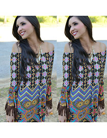 Sexy Multi-color Geometric Shape Pattern Decorated Off-the-shoulder Loose Dress