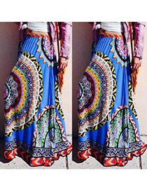 Fashion Multi-color Big Round Flower Pattern Decorated Falbala Long Skirts