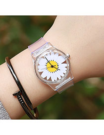 Sweet White+yellow Chrysanthemum Shape Decorated Transparent Watch