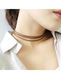 Elegant Coffee Pure Color Decorated Multilayer Collar Necklace