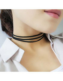 Elegant Black Pure Color Decorated Multilayer Collar Necklace