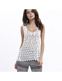 Sexy White Lace Hollow Out Flower Decorated Sleeveless Vest