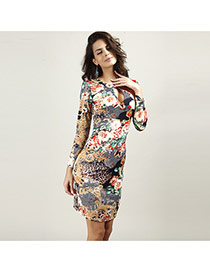 Sexy Multi-color Flower Pattern Decorated V Neckline Long Sleeve Tight Dress