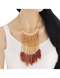 Elegant Coffee Feather&tassel Pendant Decorated Short Chain Necklace