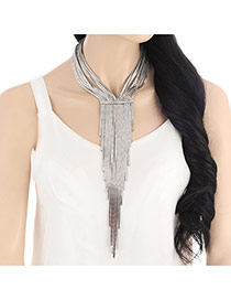Exaggerated Silver Color Long Tassel Pendant Decorated Multilayer Necklace