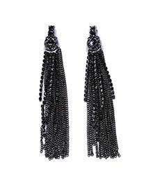 Vintage Black Long Tassel Pendant Decorated Simple Earring