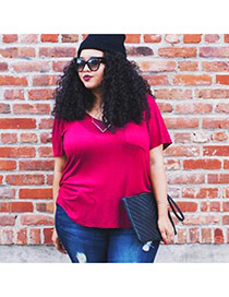 Casual Plum Red Pure Color Decorated Short Sleeve Loose T-shirt