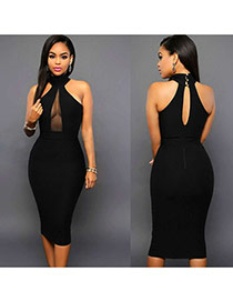 Sexy Black Pure Color Decorated Net Yarn Splicing Sleeveless Hang Neck Dress