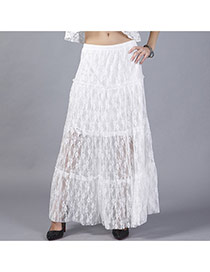 Sweet White Hollow Out Lace Flower Decorated Loose Long Dress
