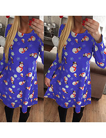 Cute Blue Snowman Pattern Decorated Long Sleeve Dress