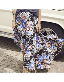 Casual Black Flower Pattern Decorated Long Skrits