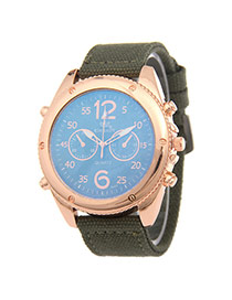 Fashion Dark Green Big Digit Decorated Pure Color Strap Watch