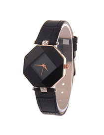 Exquisite Black Rhombus Dial Plate Decorated Pure Color Strap Watch