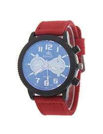 Vintage Red Gear Dial Shape Decorated Weaving Strap Watch