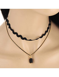 Fashion Black Rectangle Gemstone Pendant Decorated Double Layer Necklace