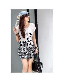 Fashion White Leaf&flower Pattern Decorated Short Sleeve Short Dress
