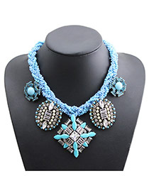 Exaggerate Blue Geometric Shape Pendant Decorated Short Chain Necklace