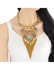 Vintage Gold Color Leaf Tassel Pendant Decorated Short Chain Necklace