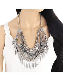 Personality Silver Color Metal Leaf Pendant Decorated Multilayer Necklace