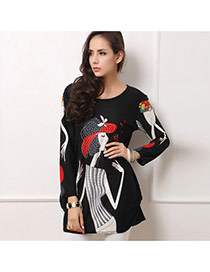Casual Black Girl Pattern Decorated Long Sleeve Large Size Dress