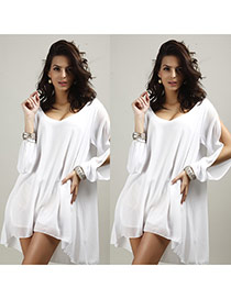 Casual White Pure Color Decorated V Neckline A- Line Short Dress
