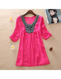 Casual Plum Red Embroidery Pattern Decorated Short Sleeve Long Blouse