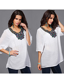 Casual White Embroidery Pattern Decorated Short Sleeve Long Blouse