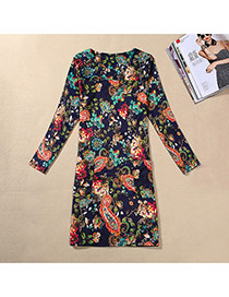 Casual Blue Sea Urchin Pattern Decorated Long Sleeve Large Size Slim Dress