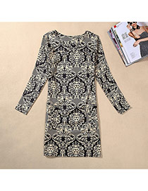 Casual Black Droplight Pattern Decorated Long Sleeve Large Size Slim Dress