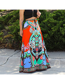 Fashion Orange Painting Flower Decorated Simple Full-skirted Long Dress