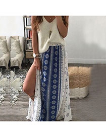 Fashion Blue Painting Flower Pattern Decorated Large Size  Long Split Dress