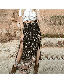 Fashion Black Painting Flower Pattern Decorated Midskirt Split Long Dress