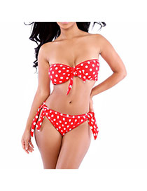 Sexy Red Dot Pattern Decorated Strapless Simple Bikini