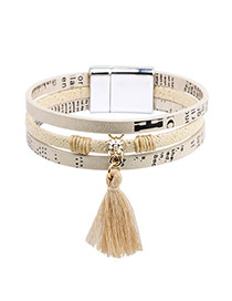 Fahion White Tassel Pendant Decorated Multilayer Bracelet