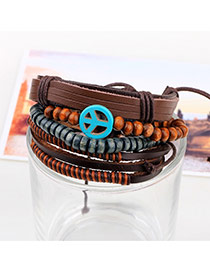 Vintage Coffee Peace Symbol Shape Decorated Multilayer Bracelet