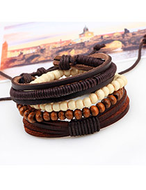 Vintage Coffee Beads Weaving Decorated Multilayer Simple Bracelet