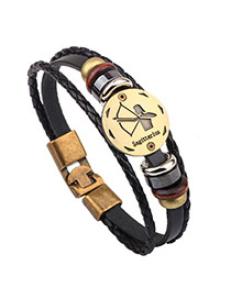 Vintage Black Sagittarius Pattern Decorated Multilayer Simple Bracelet