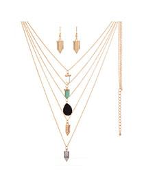 Vintage Gold Color Bullet Shape Pendant Decorated Multilayer Necklace