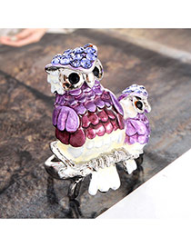 Cute Silver Color+purple Double Owl Shape Decorated Simple Ring