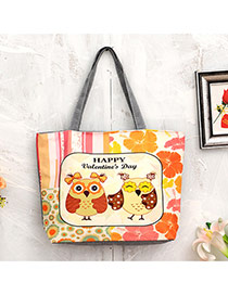 Lovely Multi-color Owl&flower Pattern Decorated Simple Trapezoidal Shape Handbag