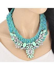 Fashion Blue Oval Shape Diamond Decorated Hand-woven Collar Necklace