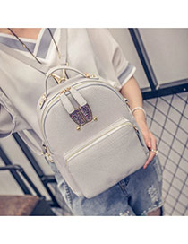 Cute Gray Rabbit Shape Decorated Pure Color Backpack