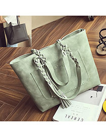 Elegant Light Green Tassel Pendant&pocket Decorated Square Shoulder Bag