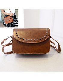 Vintage Brown Rivet Decorated Pure Color Shoulder Bag